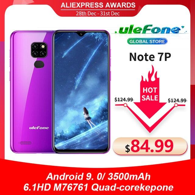 Ulefone Smartphone Note 7P, Android 9,0, Quad Core, 3500mAh, pantalla gota de agua de 6,1 pulgadas, 3GB + 32GB, desbloqueo facial