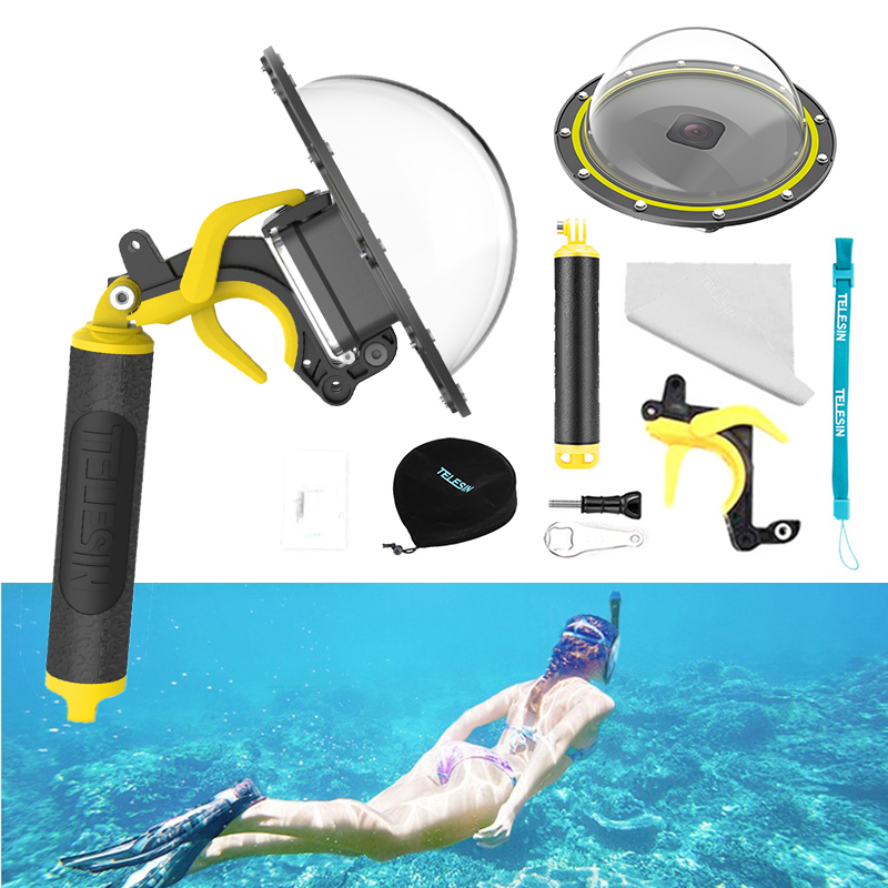 """6"""" Diving Dome Port For Gopro Hero 8 Black 30M Waterproof Housing Case Floating Handle Trigger for Go Pro 8 Camera Accessories"""