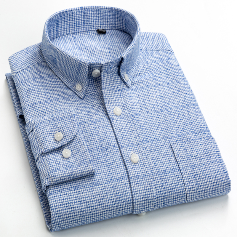 Men's Bold & Fashionable Plaid Brushed Cotton Shirts Single Patch Pocket Long Sleeve Standard-fit Button Up Casual Thick Shirt