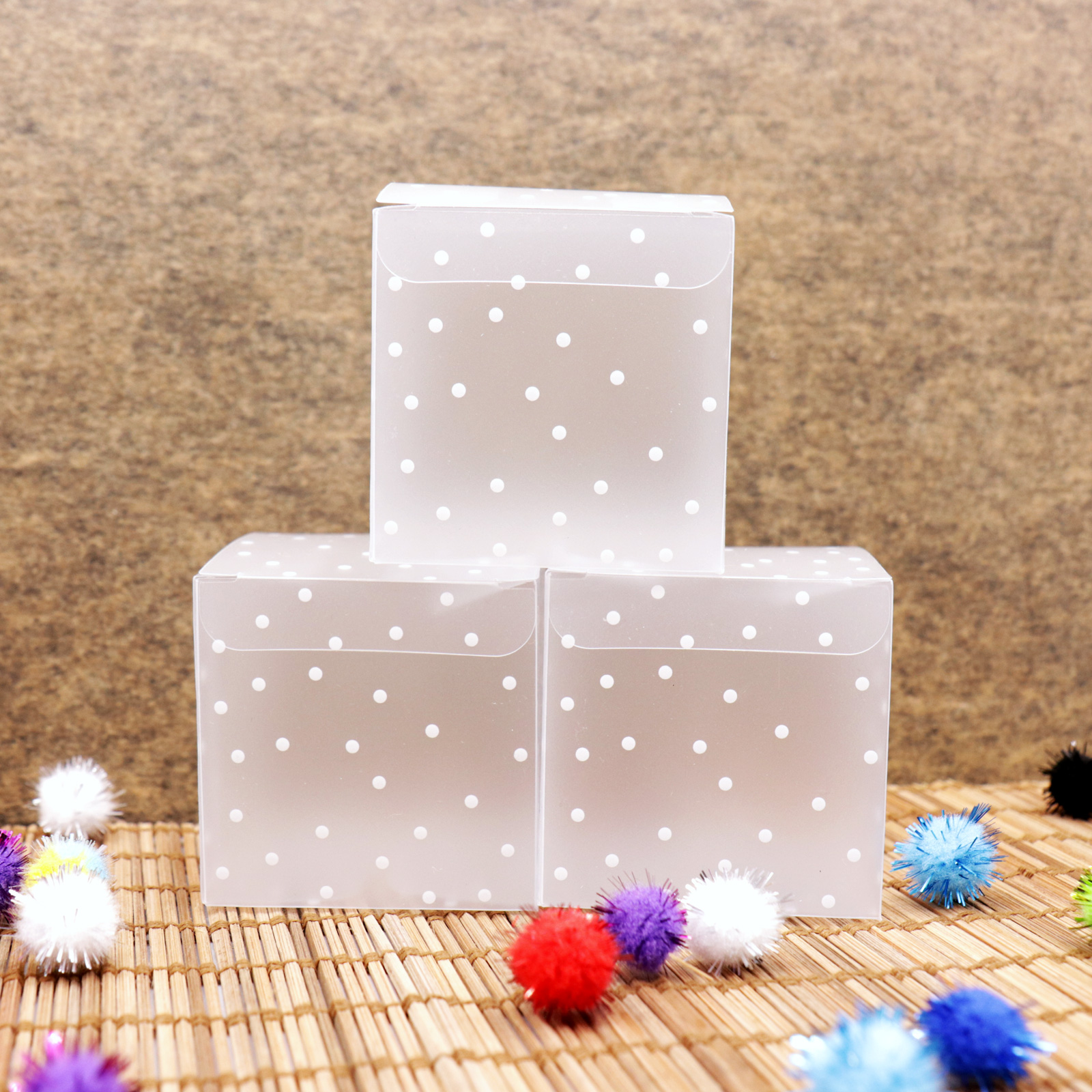 10pcs PVC Transparent Square Dot Candy Box Chocolate Package Gift Box Wedding Favor Baby Shower Birthday Party Caja De Dulces