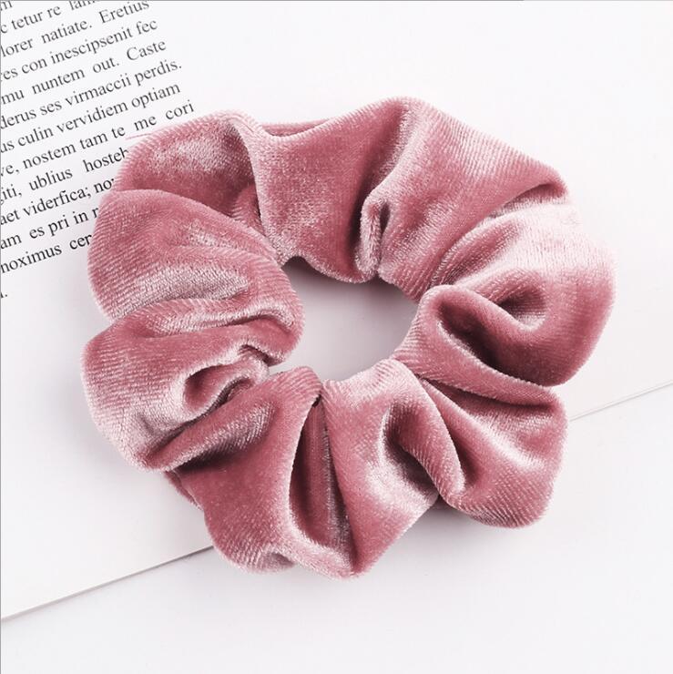 33 цвета, корейские Бархатные резинки для волос, эластичные резинки для волос, одноцветные женские головные уборы для девушек, заколки для волос с конским хвостом, аксессуары для волос - Цвет: 15 Dark Pink