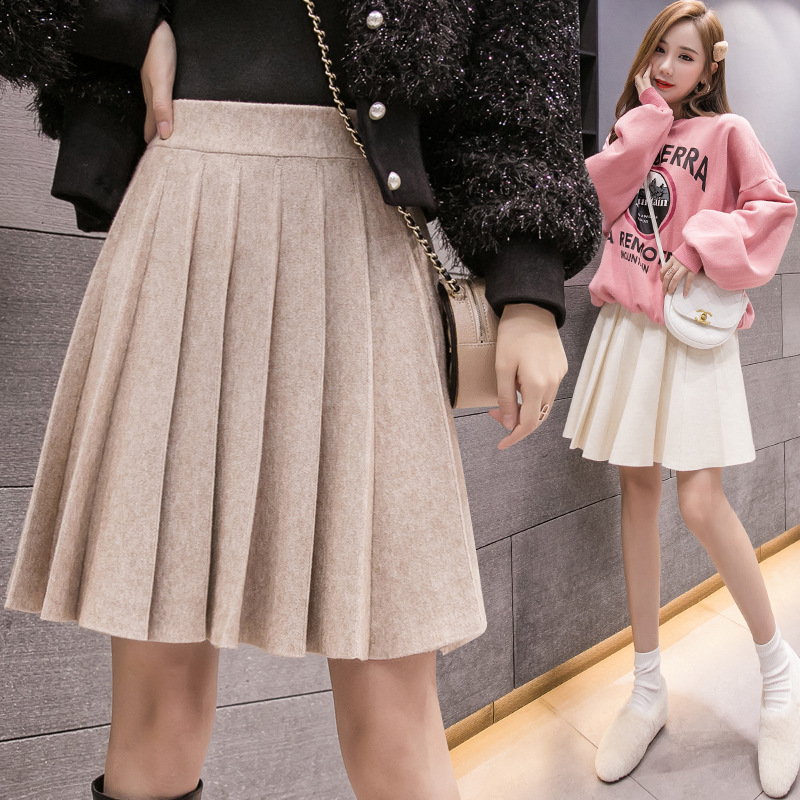 Autumn And Winter New Style Korean-style Knitted Yarn Big Hemline Tutu CHIC College Style Pleated Short Skirt A- Line Skirt