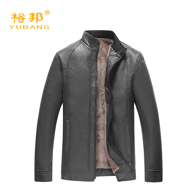2019 New Style Men'S Wear Middle-aged Stand Collar Leather Coat Business Casual Men's PU Leather Washing Leather Coat