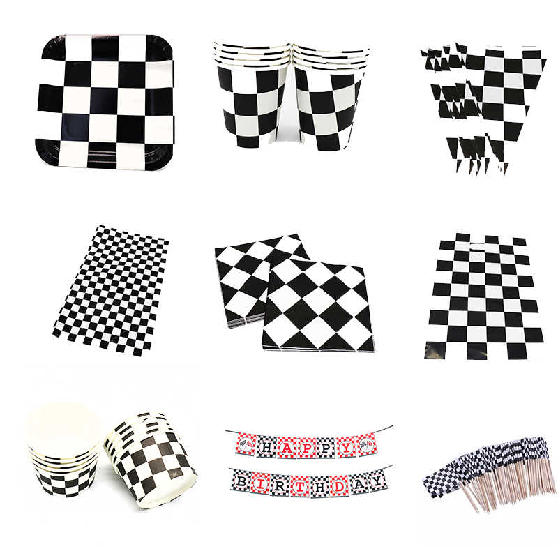 Racing Car theme disposable party tableware Racing Car Flag theme birthday party decorations Racing Flag theme plates cups