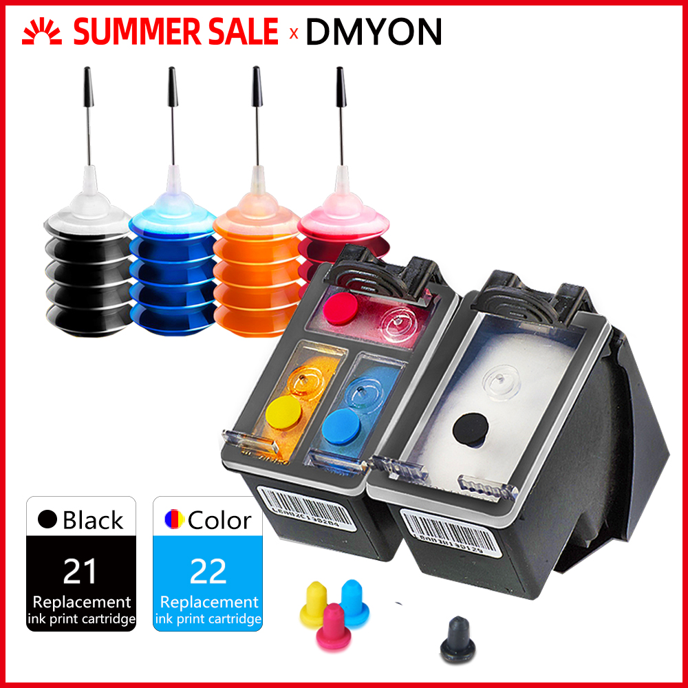 DMYON 21XL 22XL Ink <font><b>Cartridge</b></font> for <font><b>Hp</b></font> <font><b>21</b></font> <font><b>22</b></font> Deskjet F4100 F4180 F2180 F2100 F2200 F2280 F300 F380 D1500 D2300 3915 3920 Printers image