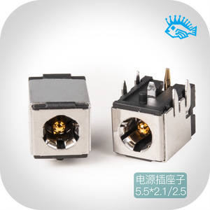 Image 1 - 5pcs DC 007B High quality pure copper gold plated shielded DC power socket DC 5.5*2.1mm/5.5*2.5mm