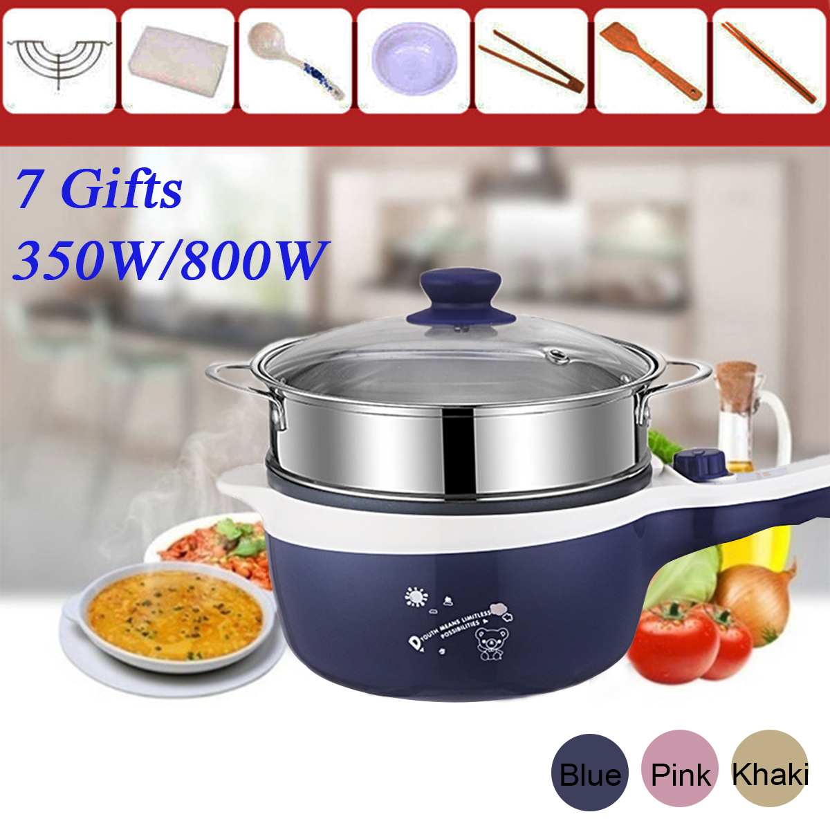 1.6L Electric Mini Rice Cooker MultiCookers Portable Rice Cooker 2 Layers Non-stick skillet Steamed egg Cooking pot Food Steamer