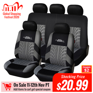 Image 1 - AUTOYOUTH Brand Embroidery Car Seat Covers Set Universal Fit Most Cars Covers with Tire Track Detail Styling Car Seat Protector