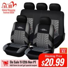 AUTOYOUTH Conjunto de fundas de asiento de coche protector de asiento universal con bordado, para la mayoría de modelos de coche, con diseño de pista de neumático