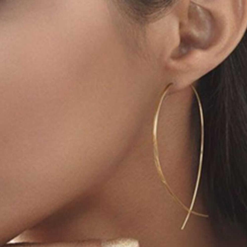 1 par de pendientes de plata Simple Pin pendientes de oreja de Stud mujeres regalo peces en forma de pendientes geométricos pendientes de broche de joyería de oreja