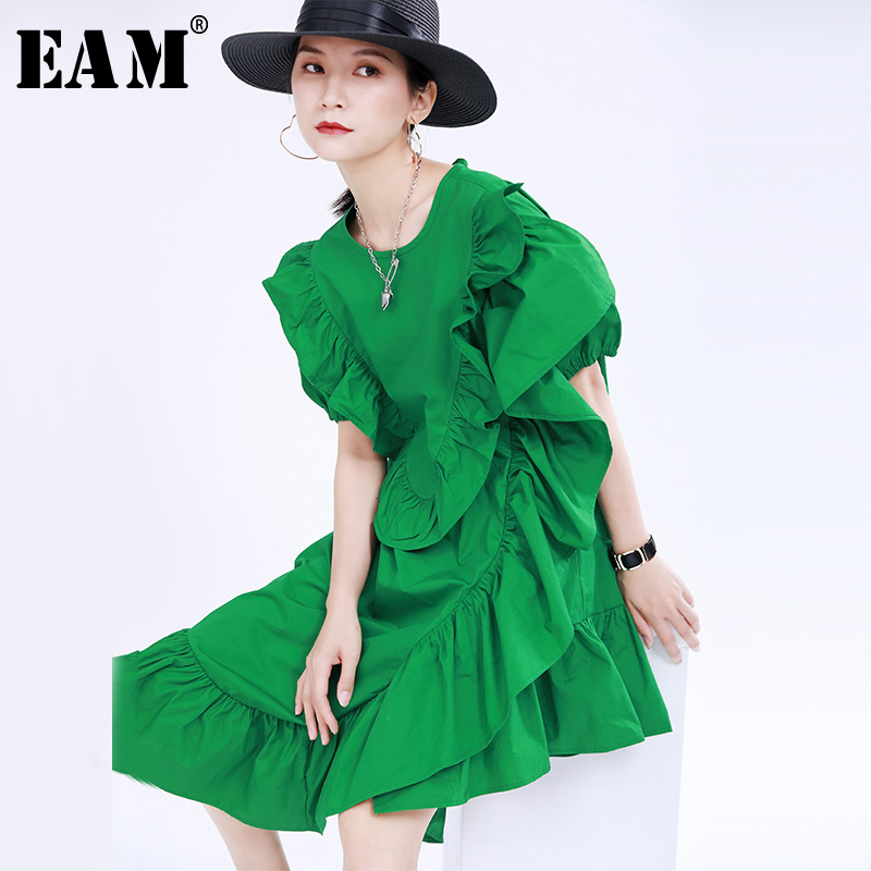 [EAM] Women Green Irregular Ruffles Split Dress New Round Neck Short Sleeve Loose Fit Fashion Tide Spring Summer 2020 1U387