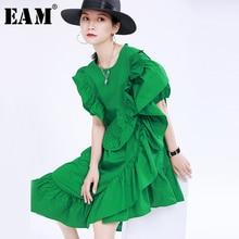 [EAM] Women Green Irregular Ruffles Split Dress New Round Neck Short Sleeve Loose Fit Fashion Tide Spring Summer 2021 1U387