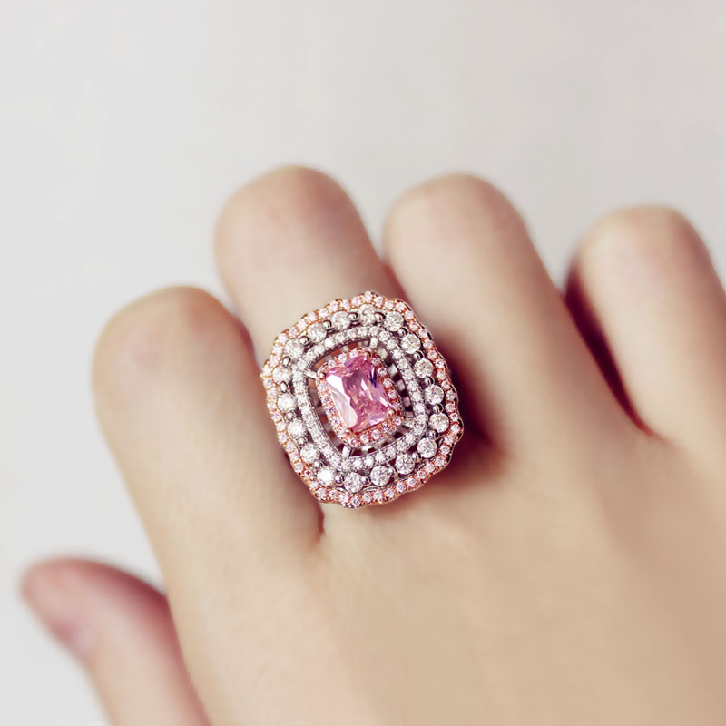 Luxurious Pink cherry blossoms 18KT White Gold Cushion Shape 125PCS Pink&White 5A CZ Zirconia Women Wedding party Ring Gift 6-10