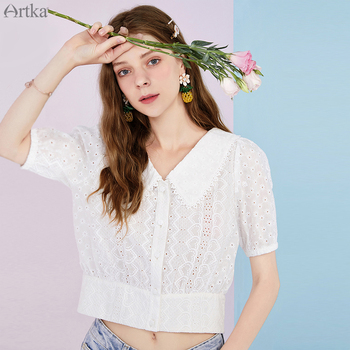 ARTKA 2020 Summer New Women Blouse Elegant Lace V-Neck White Shirt Pure Cotton Short Sleeve Hollow Out Crop Top Women SA25202X lace ruffle short crop top long sleeve hollow out black slim sexy backless korean spring white pink cardigan shirt women blouse