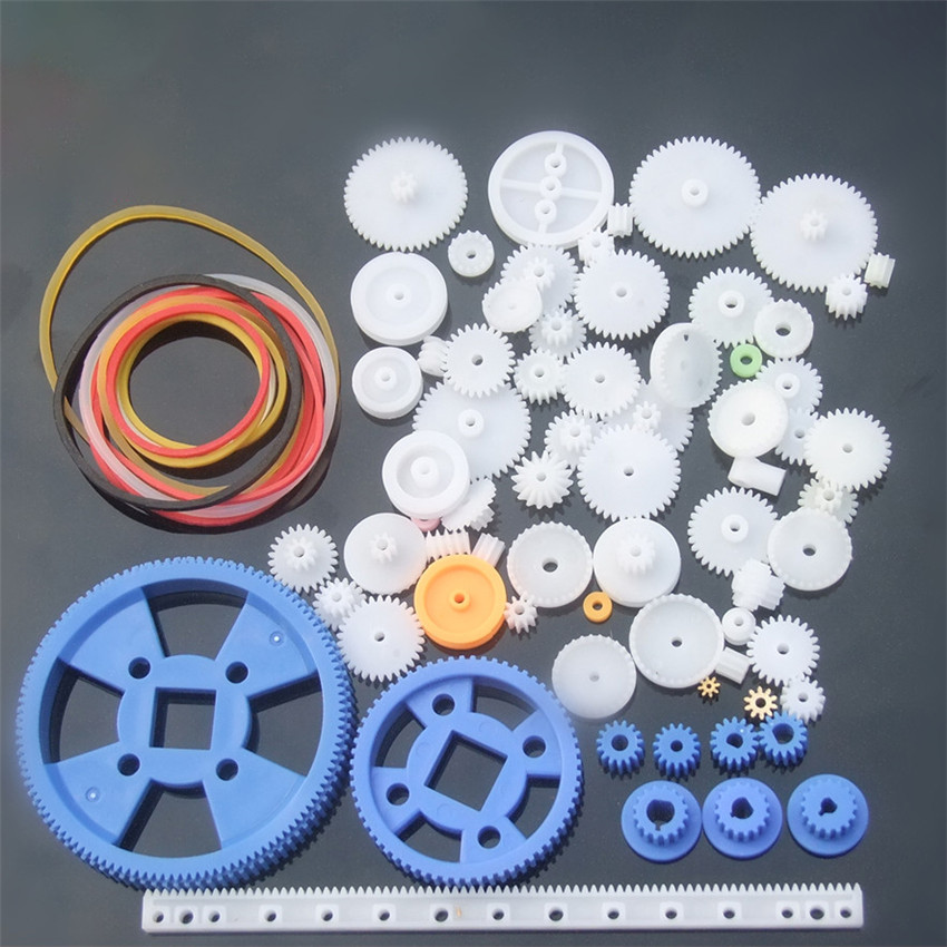 80pcs/set DIY Toy Parts Gear Kit Gears, Belt, Bushings, Copper Teeth, Pulley, Single Gear Parts Robot Motor Gearbox Accessories