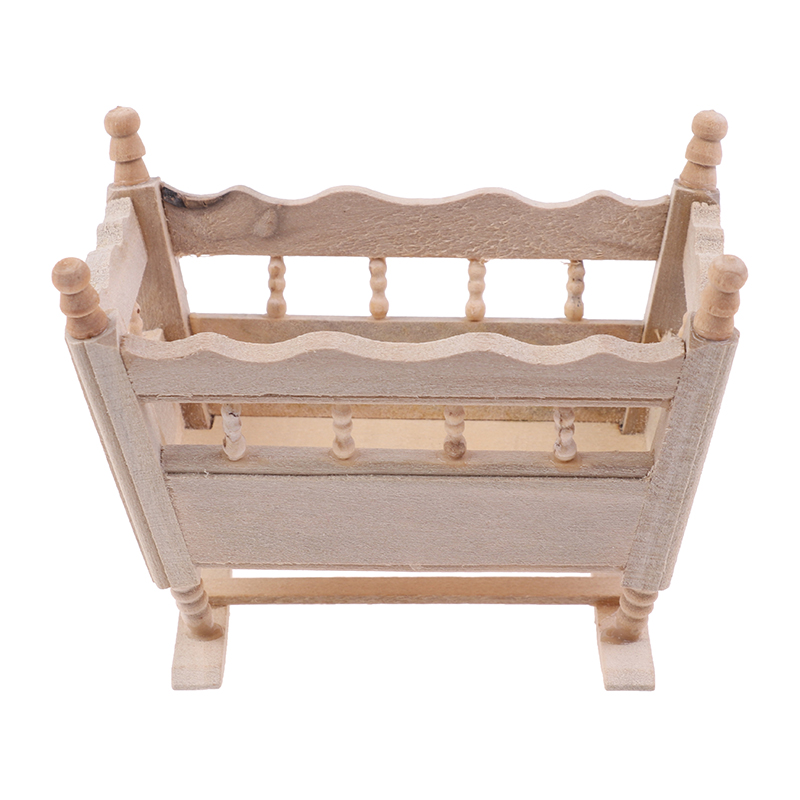 1/12 Dollhouse <font><b>Miniature</b></font> Wooden Cardle Baby Bed Model Accessories <font><b>Furniture</b></font> Toys image