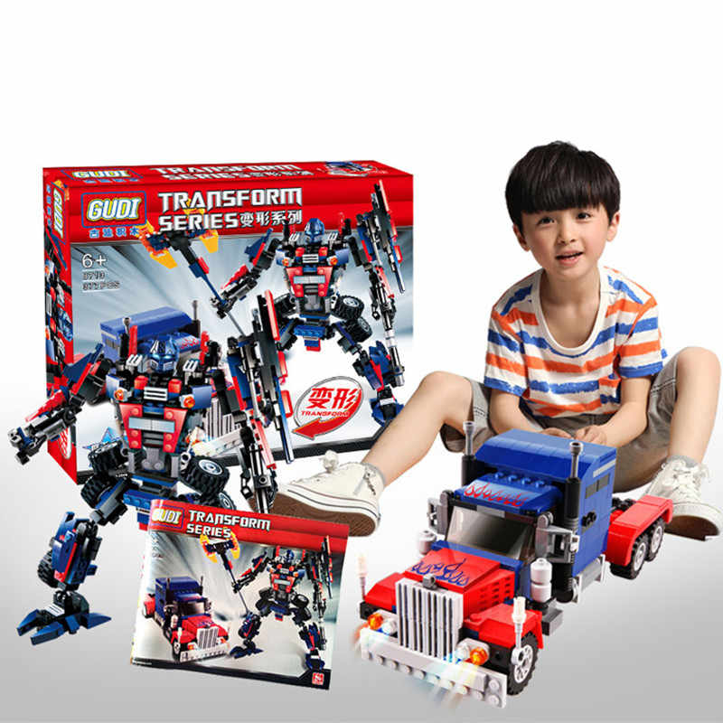 2019 New 2 In 1 Transformation Series Robot Vehicle Sport Car DIY Legoings Model Building Blocks Kit Toys Kids Best Gifts