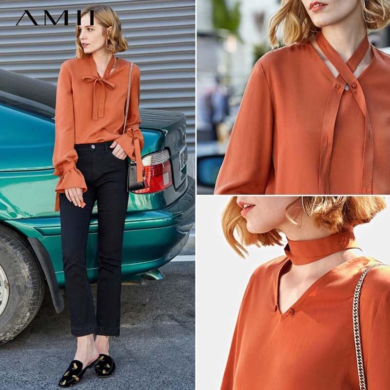 Женская блузка Amii, офисная блузка с треугольным вырезом и широким рукавом, 11970012