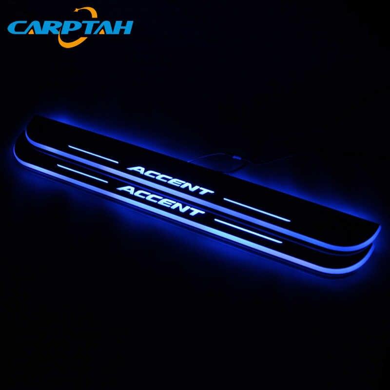 CARPTAH לקצץ חיצוני מכונית דוושת חלקי LED דלת אדן שפשוף צלחת מסלול סרט דינמי אור עבור יונדאי אקסנט I25 2012 -2018