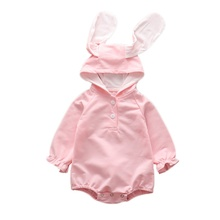 2019 Baby Clothes Baby Romper Toddler Infant Baby Girl Boy Cartoon Rabbit Ear Long Sleeve Hooded Newborn Jumpsuit Romper 2018 baby girls clothes baby romper toddler infant baby girl cartoon pig love print long sleeve jumpsuit romper clothes jy24 f