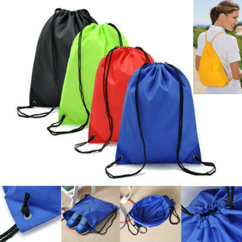 Large String Drawstring Backpack Cinch Sack Gym Bag Tote School Sport Yoga Pack