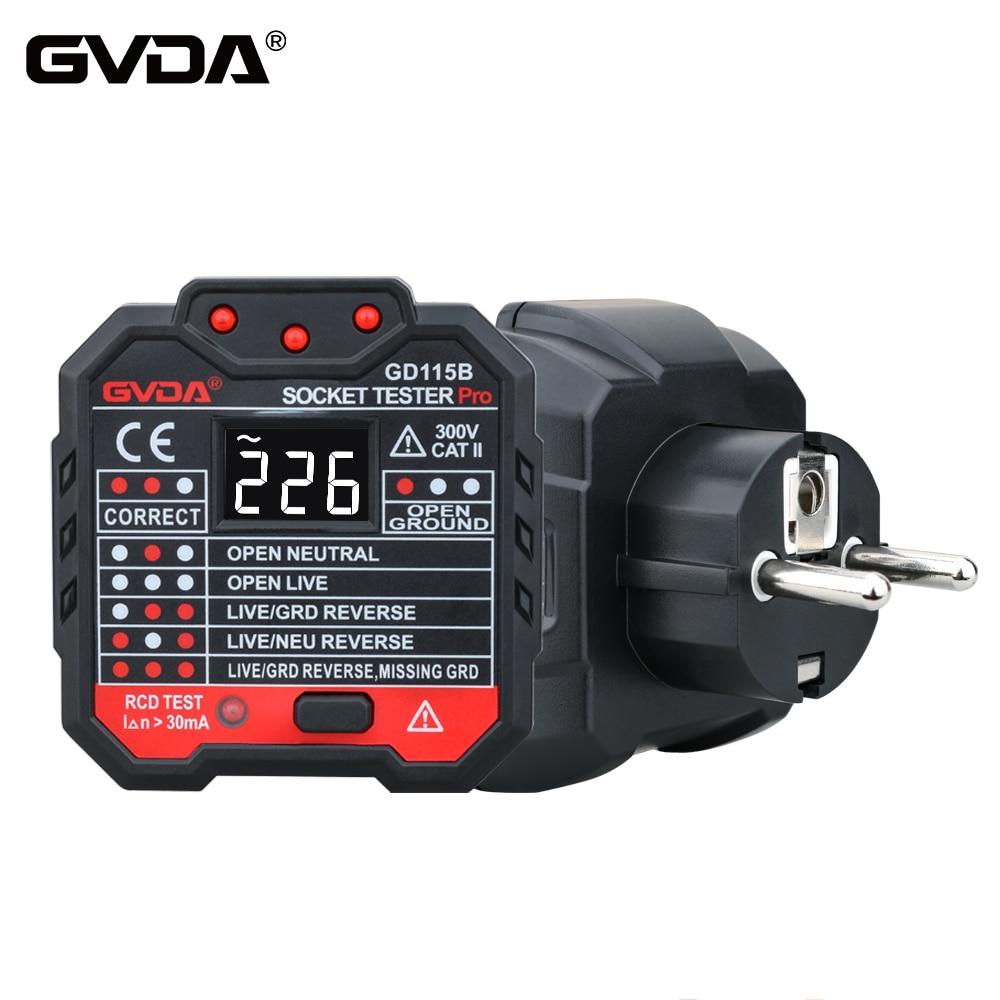 GVDA розетка тестер напряжение Детектор электрический выключатель Finder заземления нулевой линии США ЕС Великобритании Разъем полярности фаз...