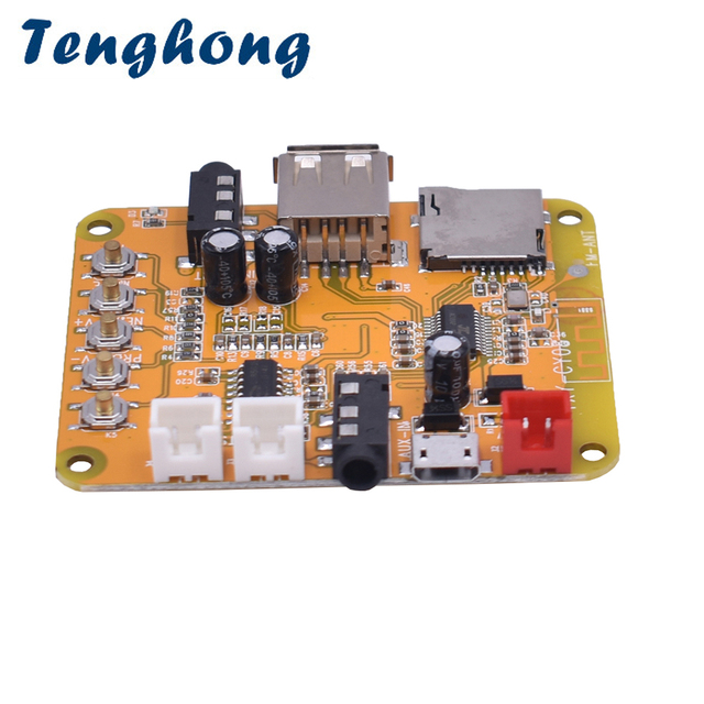 Tenghong Mini Bluetooth 4.1 MP3 Audio Decoder Board 5W * 2 Versterker Bluetooth Audio ontvanger Module Ondersteunt WAV APE FLAC DC5V