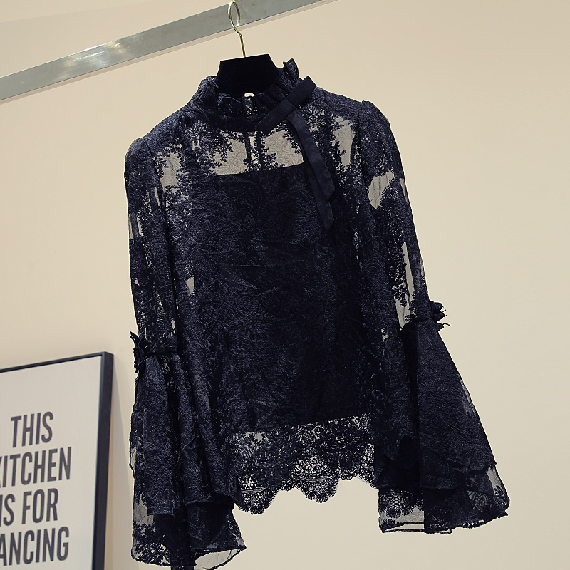 Thin Long Sleeve Lace Shirt Women's 2020 Autumn New Korean-Style Loose Bell Sleeve Lace-up White Lace Blouse Blusas