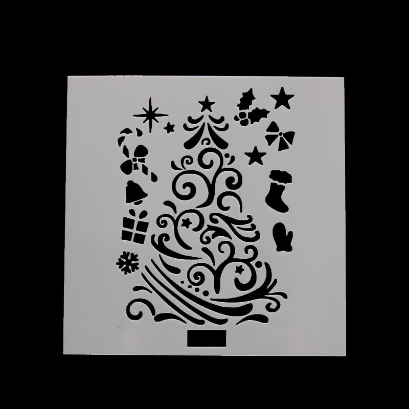 DIY Craft Christmas Tree Layering Stencils For Walls Painting Scrapbooking Stamp Album Decor Embossing Paper Card Template