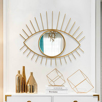 Nordic Ins Eye Iron Art Mirror Decoration Creative Home Living Room Genuine Wall Decoration Mirror Golden