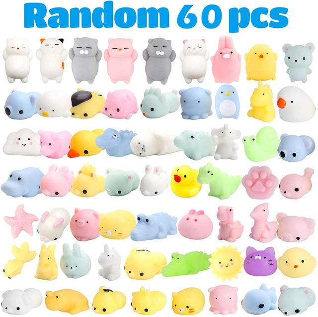 60 Pcs Kawaii Squishies Mochi Anima Squishy Toys for Kids Party Favors Mini Stress Relief Toys for Birthday Gift Classroom Prize