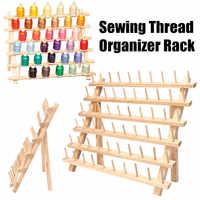 60 Spools Sewing Thread Rack Embroidery Storage Wooden Holder Cones Stand Shelf Organizer Spools Roll Needlework Tools Accessory