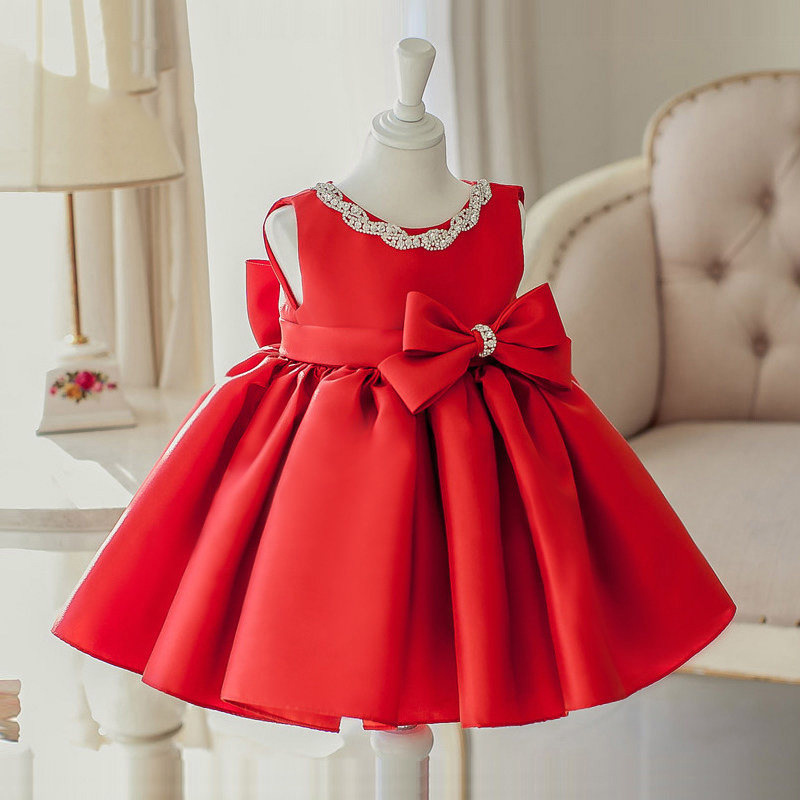 2019 New Style Dresses Of Bride Fellow Kids Princess Dress Girls Tutu Red Children Late Formal Dress Women's Birthday Costume