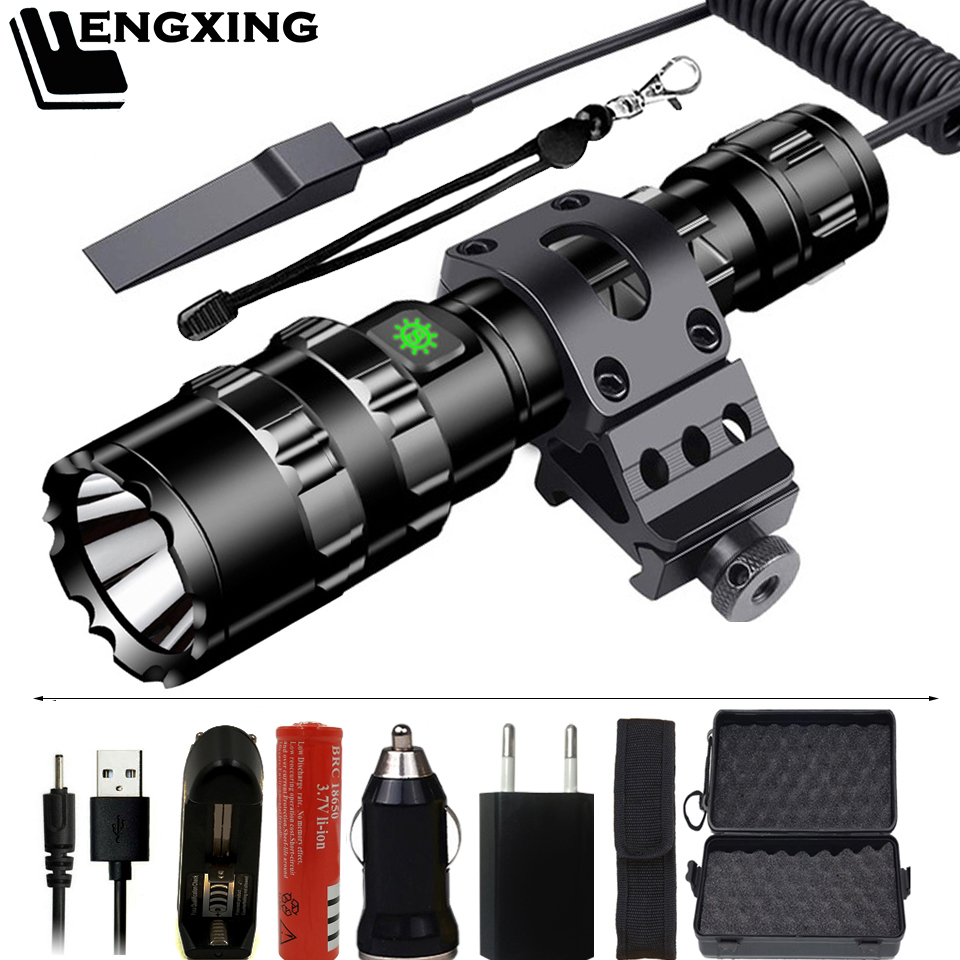 FX-DZ901002 Hunting LED Flashlight Torch Powerful Tactical Light Rechargeable 18650 Battery Waterproof Scout Flashlight