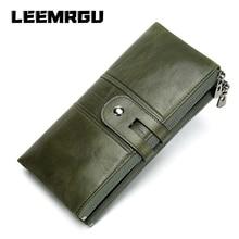 Women Casual Wallet Leather Long Wallet Women's Money Bag Handle Double Zipper Cowhide Coin Purse Large Capacity Money Bag