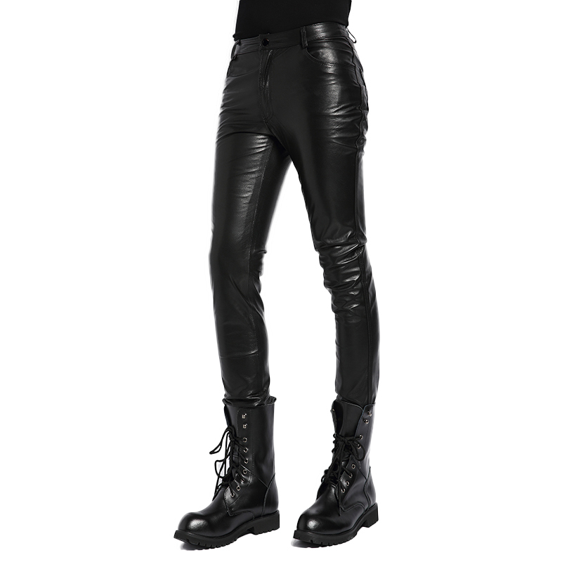 Genuine Leather Pants Men's Real Sheepskin Korean Skinny Tight Motorcycle Biker Male Trousers Highstreet Slim Fashion Pants Men