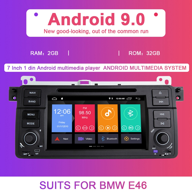 Auto Radio 1 Din Android 9.0 Car DVD Player For BMW E46 M3 318/320/325/330/335 Rover 75 1998-2006 GPS Navigation BT Wifi,With Ca