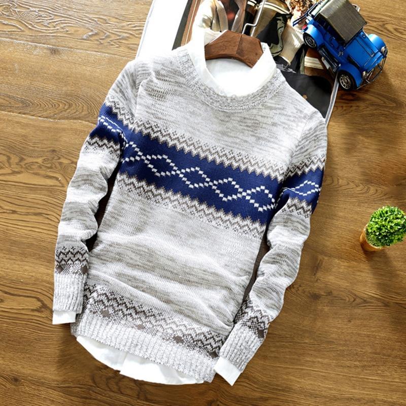 Men's Sweater Vintage Pattern WinterCasualSlimRound NeckSweaterPrint TopsKnitwear Korean Style  Male Pullover