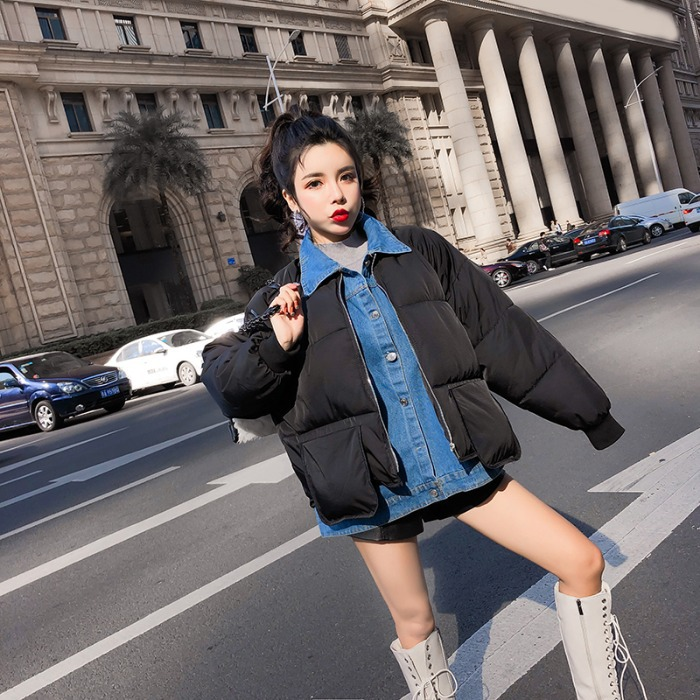 2019 Winter New Style Thick Warm Cowboy Mock Two-Piece Cotton-padded Clothes Small Cotton-Padded Jacket Fashion Winter Short Coa