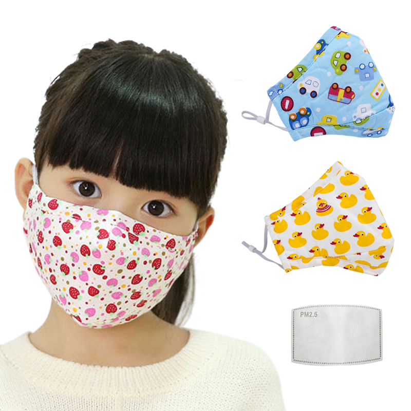 N95 KN95 Filter PM2.5 Face Mask For Children Kids Girls Boys Mouth Masks Anti Dust Cotton Activated Carbon Breathable Respirator