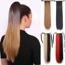 Длинный прямой хвост с зажимом, накладные волосы, хвост, Шпилька для волос, синтетические удлинители конского хвоста, черные, коричневые гол...