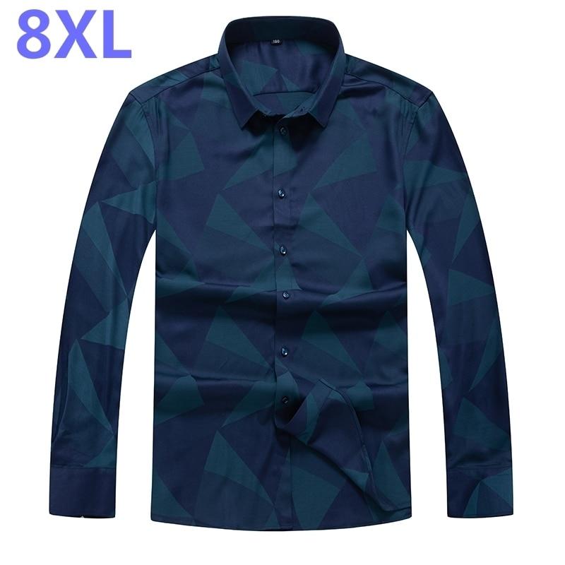 Plus Size 8XL 7XL New Autumn Fashion Brand Men Clothes Long Sleeve Shirt Men Casual Men Shirt High Quality Males Social Shirts
