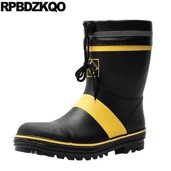 faux fur tall comfortable footwear mid calf waterproof rain winter rubber fishing boots men plus size flat shoes black slip on
