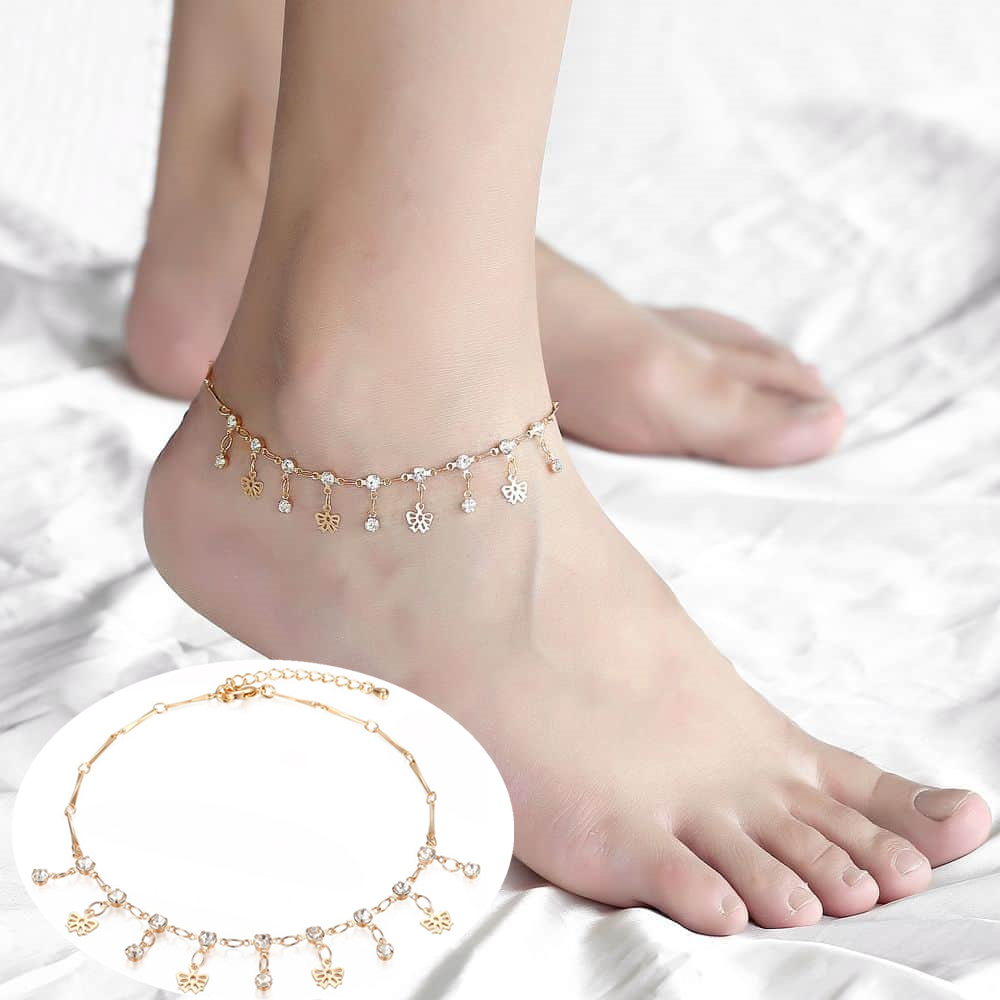 Thin Chic Cross CZ Charm Anklet Bracelets for Women Rose Gold Color Simple Summer Ocean Beach Foot Bracelet Jewelry CAM01