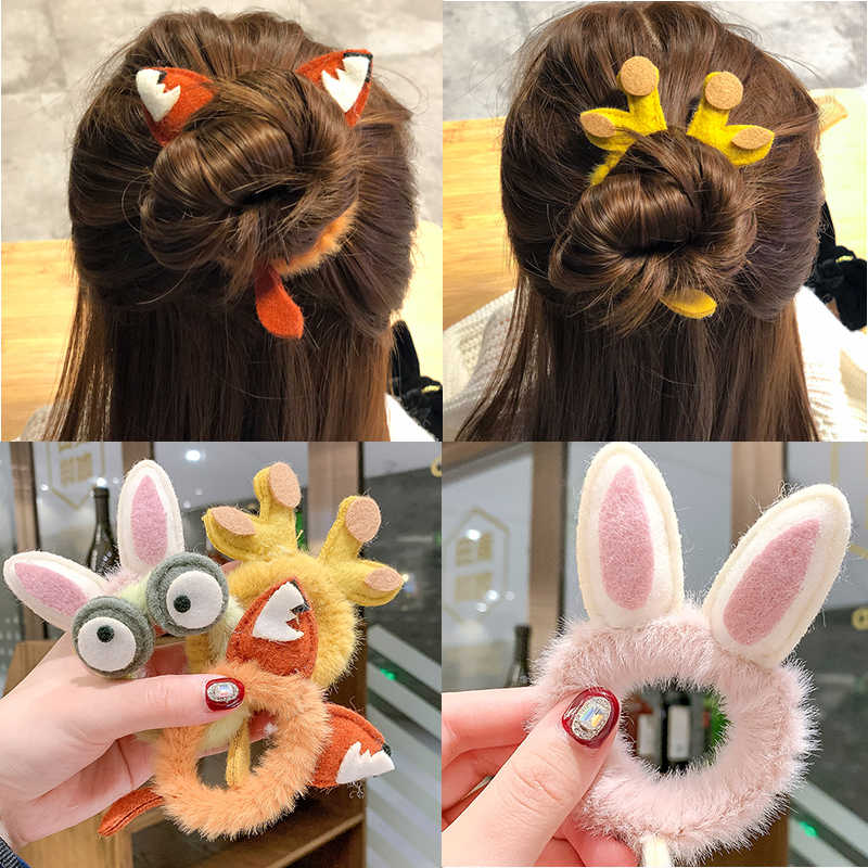 2020 New Fax Fur Cartoon Elastic Hair Bands for Women Ponytail Holder Tie Gum Scrunchie Rubber Bands Girls Cute Hair Accessories