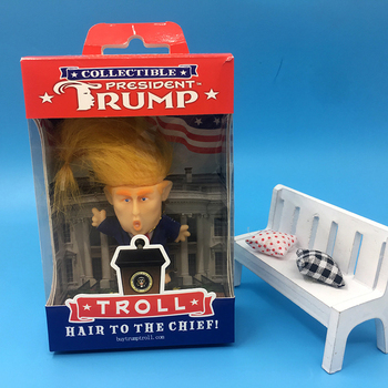Simulation Donald Trump Suit Troll Doll 6cm Funny Long Hair President Action Figure Table Car Decoration Furnishing Articles In Color Box [new] the walking dead zombie head action figure model resin crystal car ornament home desk decoration furnishing articles gift