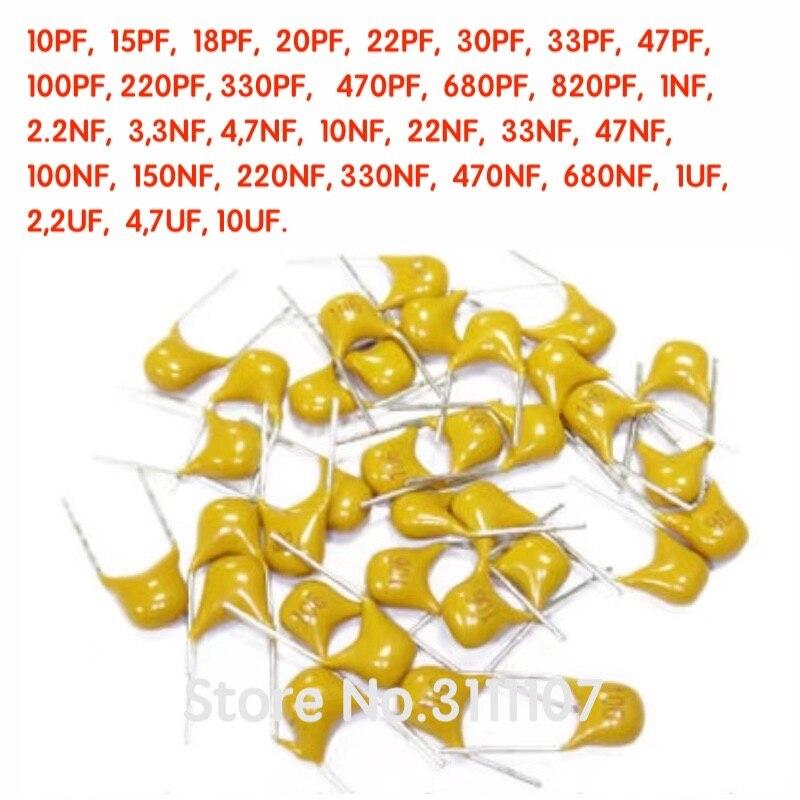 100 PÇS/LOTE 50V Monolithic ceramic capacitor UF 10PF ~ 10 22PF 47PF 100NF 820PF 220PF 6.8UF 4.7UF 0.1UF 102 104 105 106 103 473 334