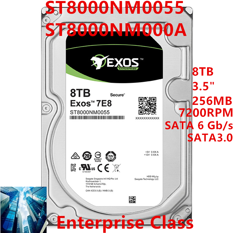 """New HDD For Seagate 8TB 3.5"""" SATA 6 Gb/s 256MB 7200RPM For Internal HDD For Enterprise Class HDD For ST8000NM0055 ST8000NM000A 1"""