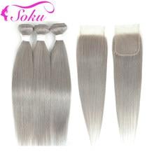 Tissage en lot brésilien Non Remy lisse gris argenté, 4x4 SOKU, avec Lace Closure, Extension de cheveux naturels