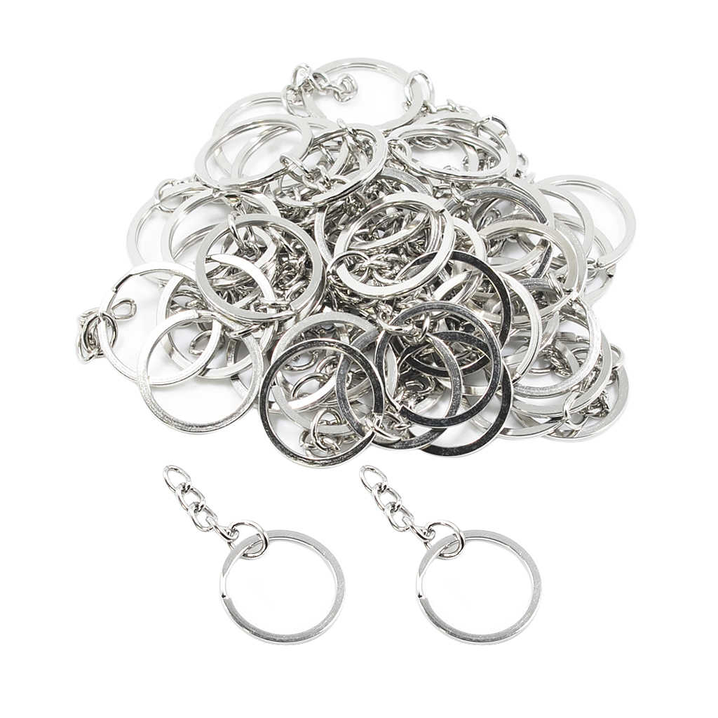 50 Pieces Metal DIY Jewelry Making Split Keychain Ring Parts Key Chains Findings With 25mm Open Jump Ring